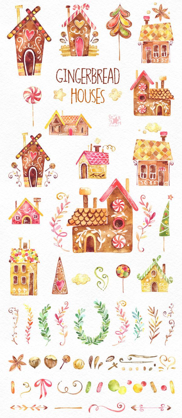 Gingerbread Houses. Watercolor clipart Christmas cookies