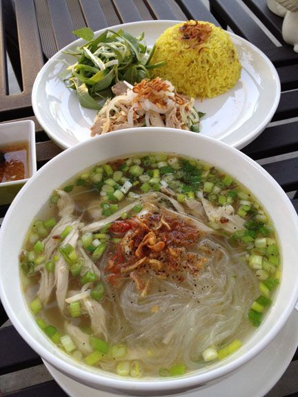 Chicken Glass Noodle soup (Mien Ga) and Chicken rice