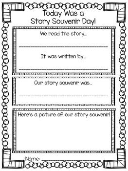 Freebie for students to write about the story and the souvenir!