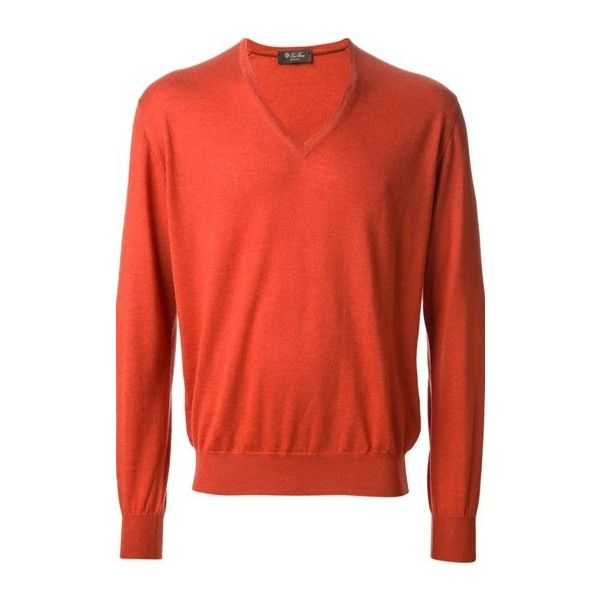 LORO PIANA Sweater ($328) ❤ liked on Polyvore featuring men's fashion, men's clothing, men's sweaters, orange, mens cashmere v neck sweater, mens v neck sweater, mens v-neck cashmere sweaters, mens vneck sweater and mens orange sweater