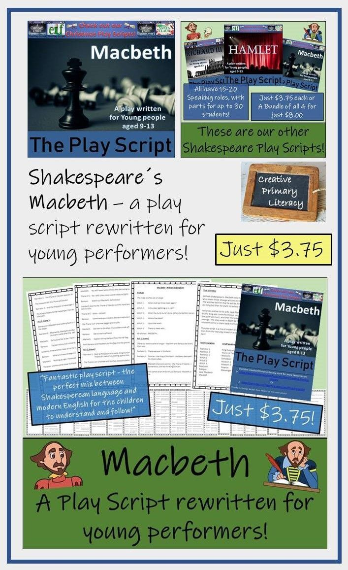 The Play Script Is A Mix Of Modern English With Some Of The Famous Lines From The Real Play Mixed In As Well Macbeth Play Shakespeare Lessons Primary Literacy [ 1157 x 707 Pixel ]