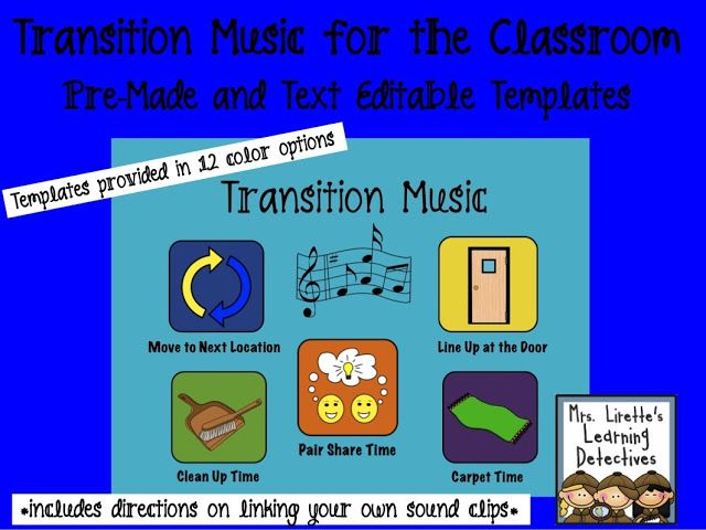 Collaborative Classroom Procedures : Transition music in the classroom kinderland