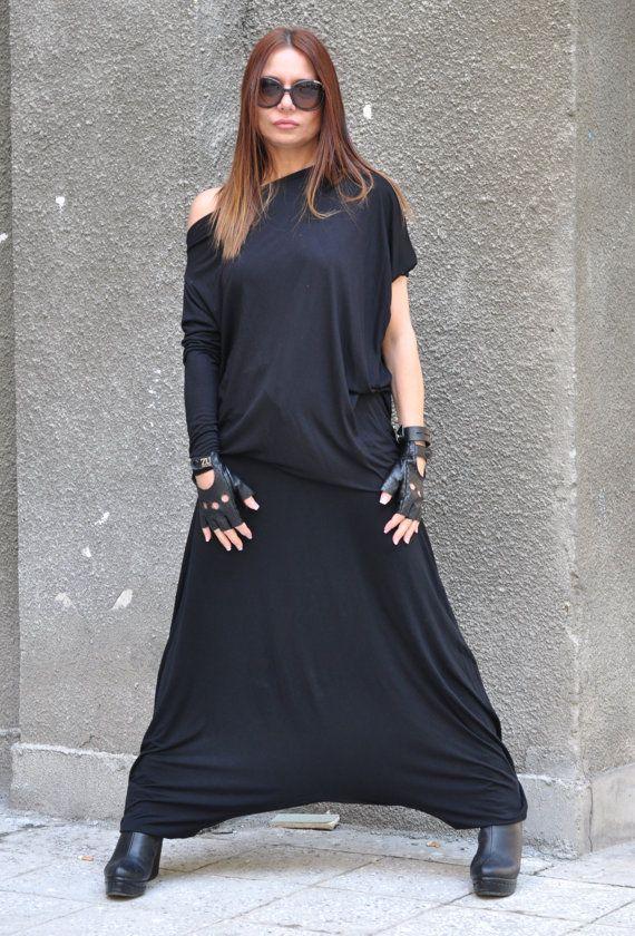 New colection - Harem Pant  Black Cotton Maxi Pants,  Drop Crotch Harem Pants, by Eug Fashion