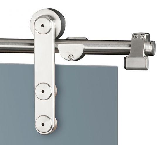 Glas-Schiebetürbeschlag-Set für Wandmontage, für 1-flg. und 2-flg. Glastüren, Modell 0010SM bei beschlag-paul.de