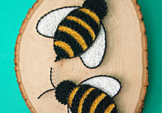Bees String Art Flora and Fauna Home by LeynaRosePhotography