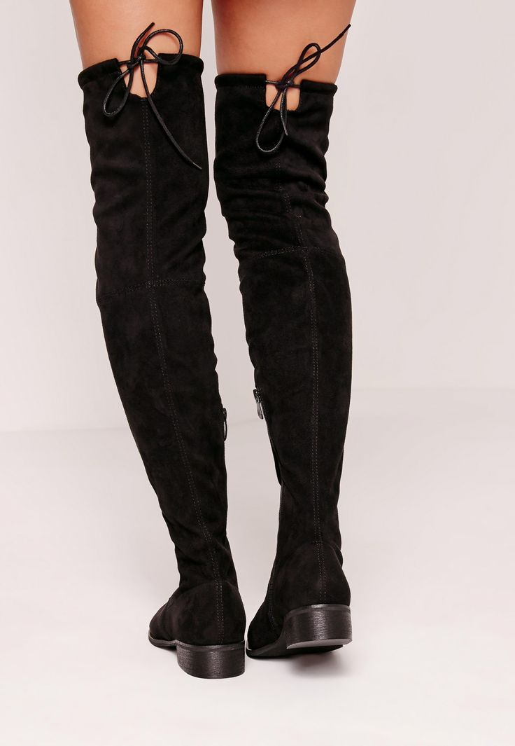 Flat Over The Knee Boots Black - Missguided