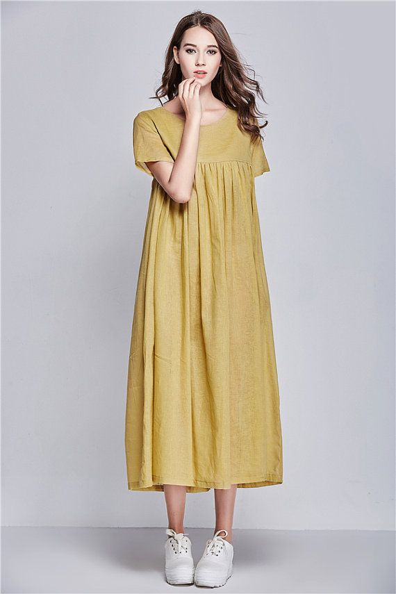 yellow linen dress for women. Extravagant flattering loose dress , so elegant an…