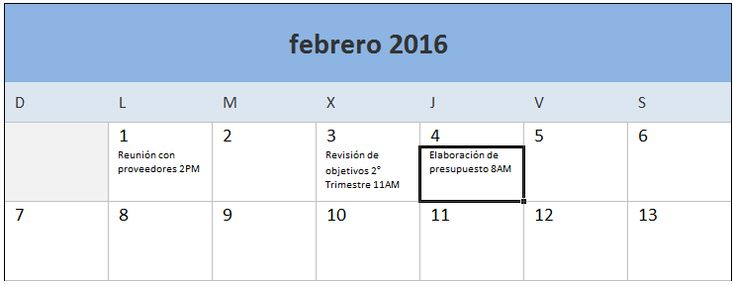 Calendario 2016 en Excel descargable