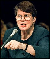 attorney general janet reno | Attorney General Janet Reno testifies before the Senate Governmental ...
