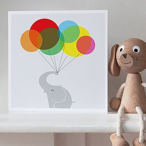 Elephant And Balloons Greetings Card - birthday cards