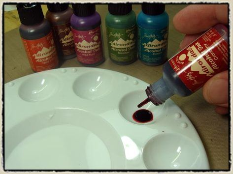 Painting with alcohol ink tutorial from Tim Holtz.  Aside from the great products that he creates, I love that Tim Holtz wants us to enjoy creating our own art with his products.  Thanks Tim!