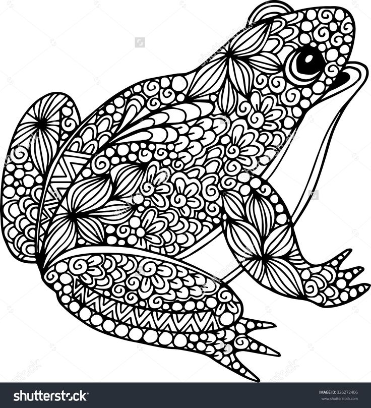 stock-vector-hand-drawn-ornamental-doodle-frog-illustration-with-zentangle-ornaments-326272406.jpg (1455×1600)