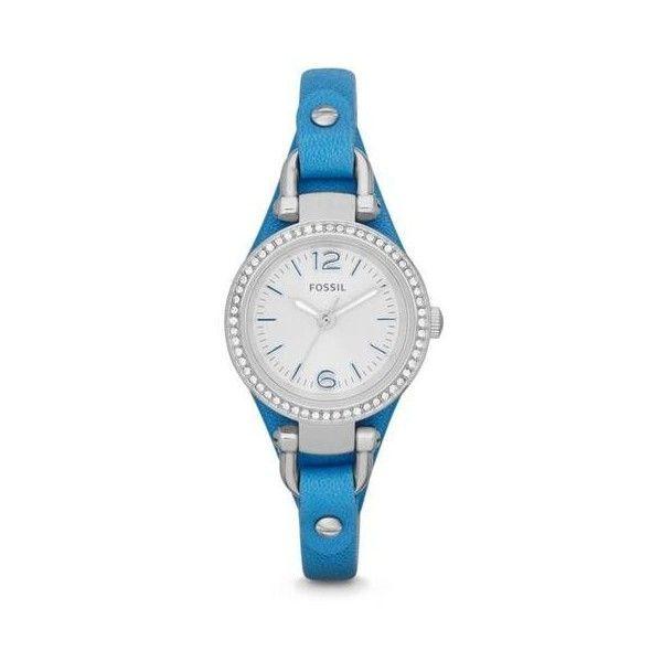 nice Montre pour femme : Fossil Georgia Mini Silver Dial Blue Leather Strap Ladies Watch