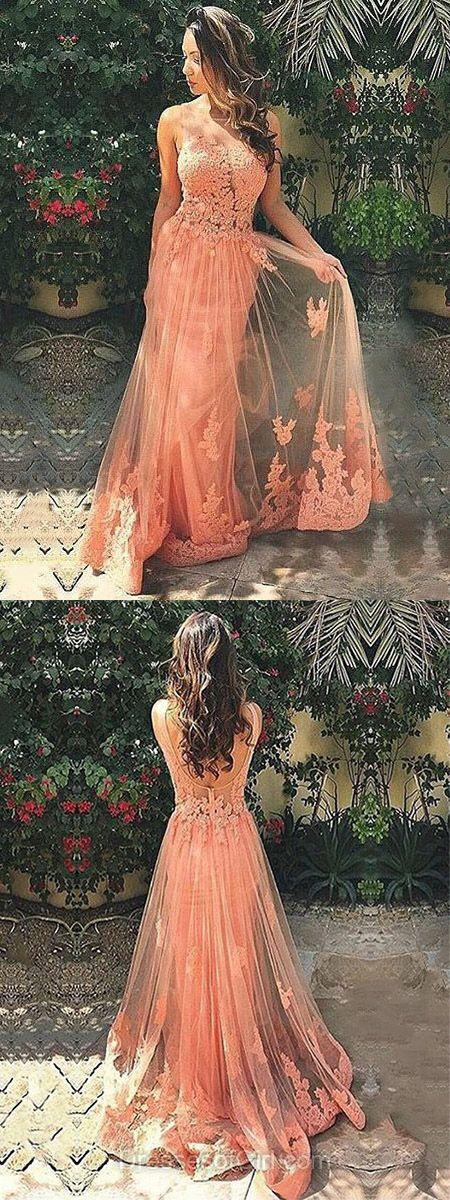 Coral Prom Dress, Long Prom Dresses, Princess Evening Dresses, Tulle Party Dresses, Open Back Formal Dresses