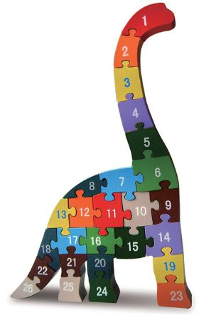 Diplodocus Alphabet & Number Puzzle... what a cool way to sneak numeracy into the fun. I love this unique and interesting standing wooden puzzle!