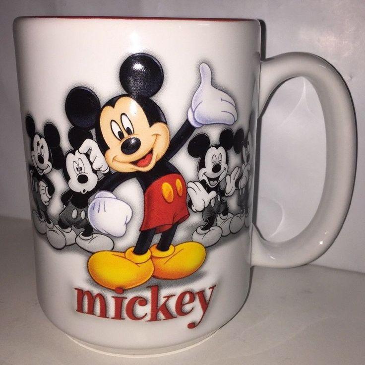 "Authentic Walt Disney World DISNEY PARKS 16 oz Coffee Mug Cup Mickey Mouse 41/2"" #DisneyParks"