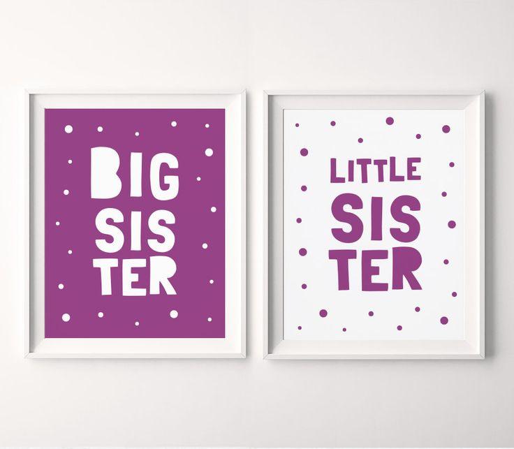 Big Sister Little Sister Printable Art (Set of 2), Girls Bedroom Decor, Purple Nursery Wall Art, Sisters Printable Decor *INSTANT DOWNLOAD*