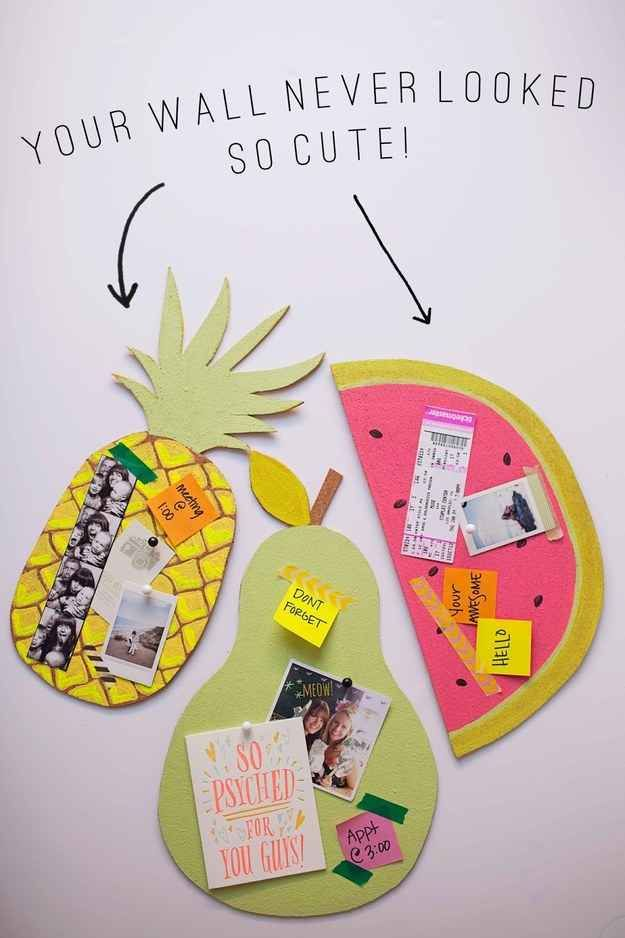 Pin notes and pictures to DIY fruit-shaped bulletin boards.