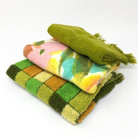 Cotton Terrycloth Hand Towels Three Vintage Terry Towels Avocado