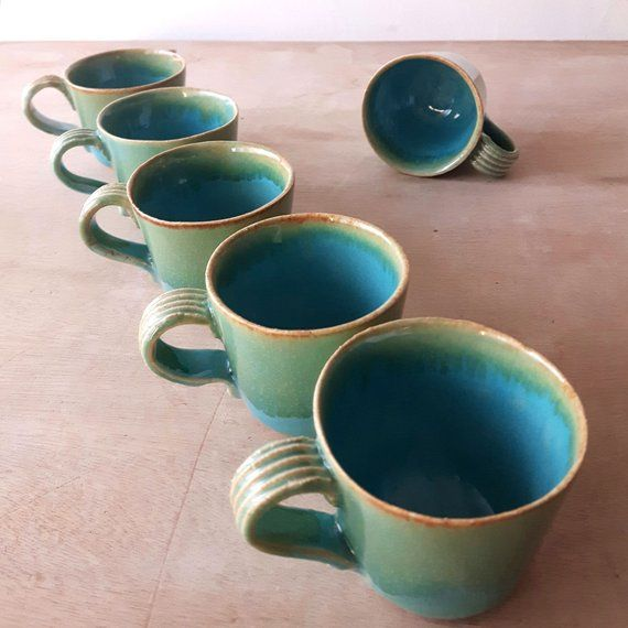 2x Modern Ceramic Espresso Coffee Cups Set Unique Turquoise Glaze