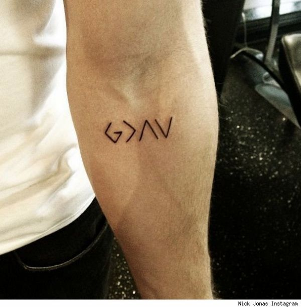 G>^V: GOD IS GREATER THAN HIGHS AND LOWS | 20 Small Tattoo Designs With Powerful Meaning | Small Tattoo Designs | Meaningful Tattoo Designs | Tiny Tattoo Designs | Cool Tattoo Designs and Ideas | Fenzyme.com