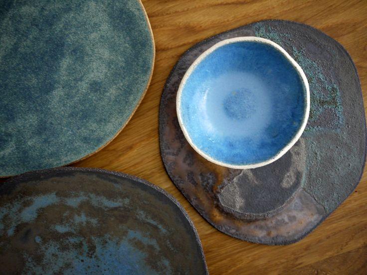 rusty plates, blue, ceramic handmade, tableware