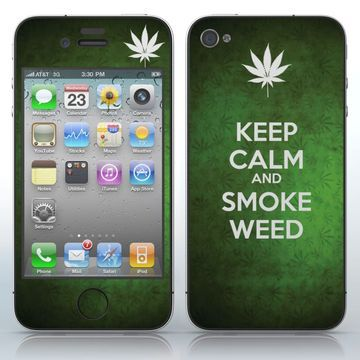 KEEP CALM AND SMOKE WEED  Green weed background with a white leaf phone skin sticker for Cell Phones / Apple iPhone 4/4S/4G   $7.95