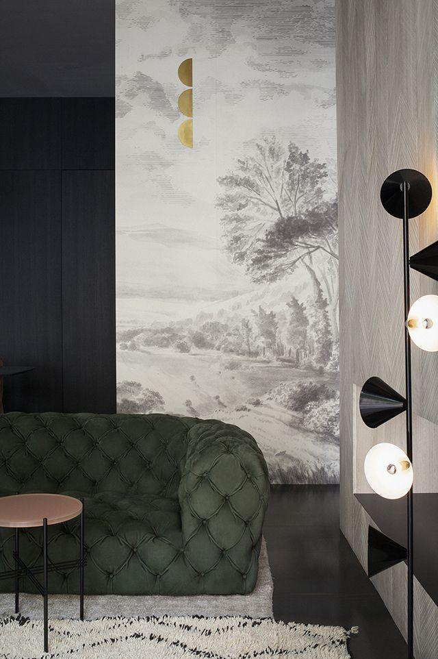 Interior design : Green tufted sofa & Japanese inspired walls * Wonderwall * The Inner Interiorista
