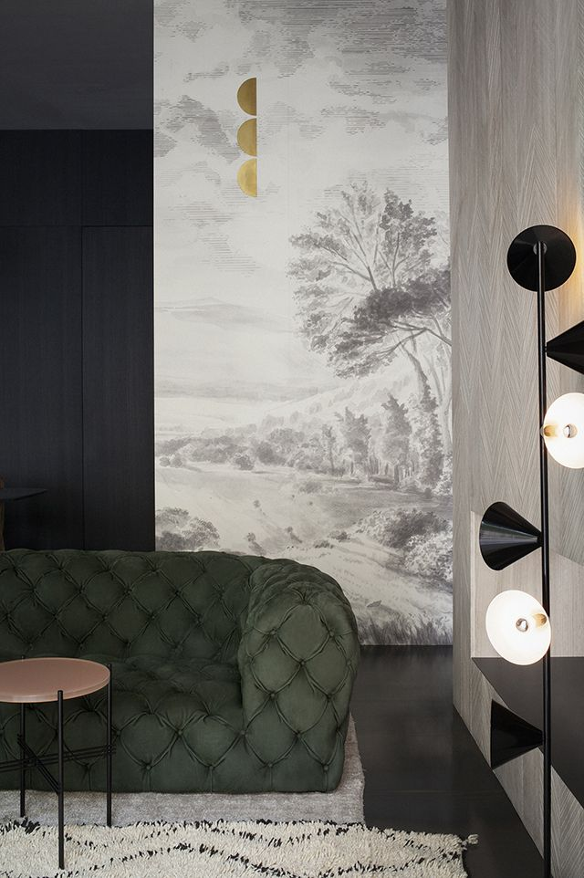 Interior design : Green tufted sofa & Japanese inspired walls * Wonderwall * The Inner Interiorista