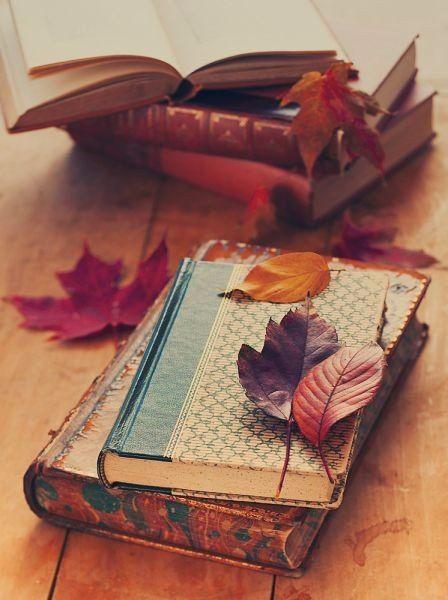 книги, осенние листья