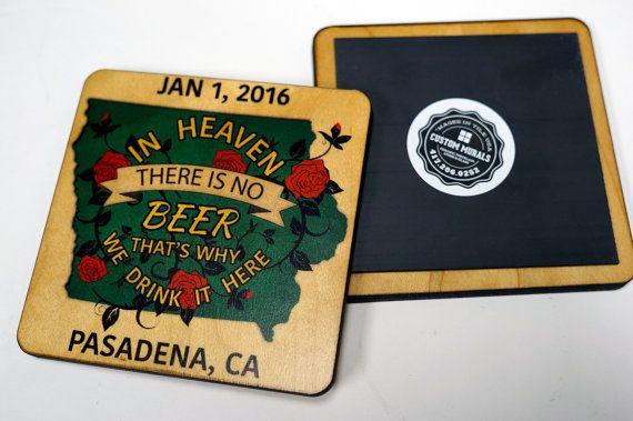 "Iowa Hawkeye Football ""In Heaven There Is No Beer"" Coaster / Magnet Rose Bowl 2015 2016 Hawkeyes Hawks"