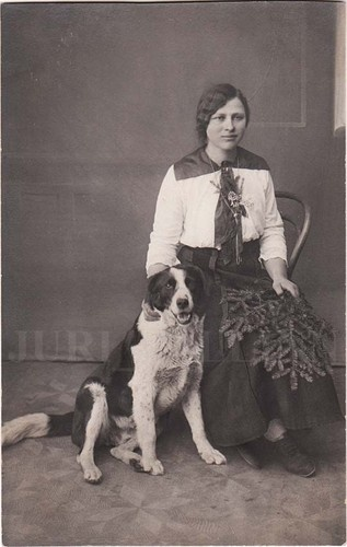 1910s Imperial PRUSSIA Young Woman with  DOG