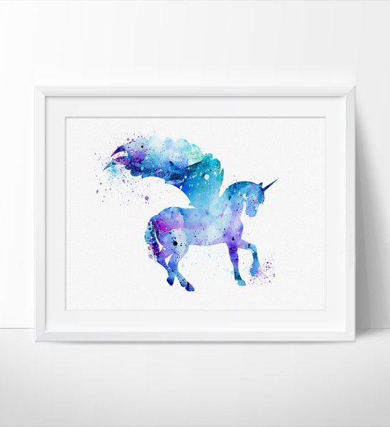 Unicorn Watercolor Print Unicorn Art Print Watercolor