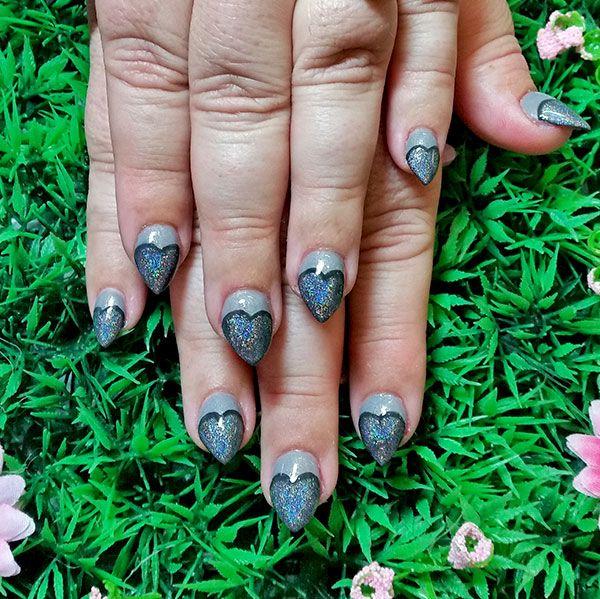 Glittery grey heart tips nail art! www.kawaiiklaws.com