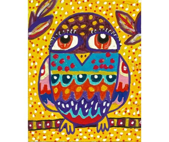 Mexican Folk Art Owl Decor Whimsical Art Owl by AGirlAnOwlAndACat, $10.00
