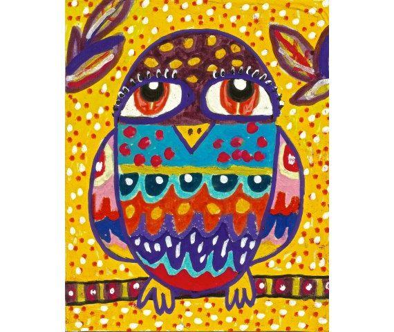 Mexican Folk Art Owl Decor Whimsical Art Owl by AGirlAnOwlAndACat, $10.00
