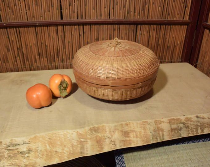 Chinese Bamboo Basket With Lid