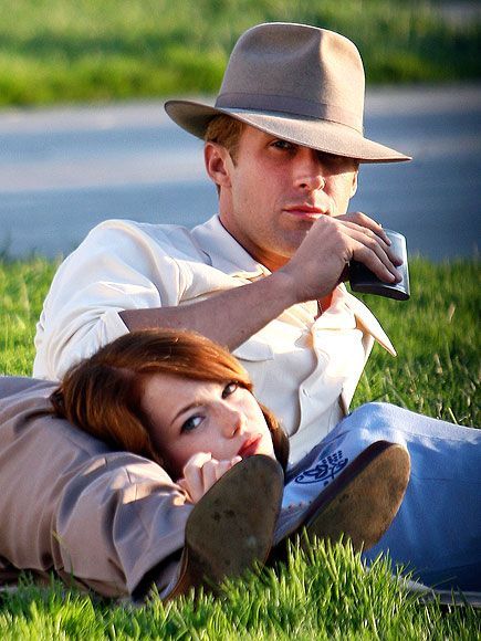 "Ryan Gosling and Emma Stone for 2013 movie ""The Gangster Squad"". He wears the gangster look well I must say!!!!!!!!"