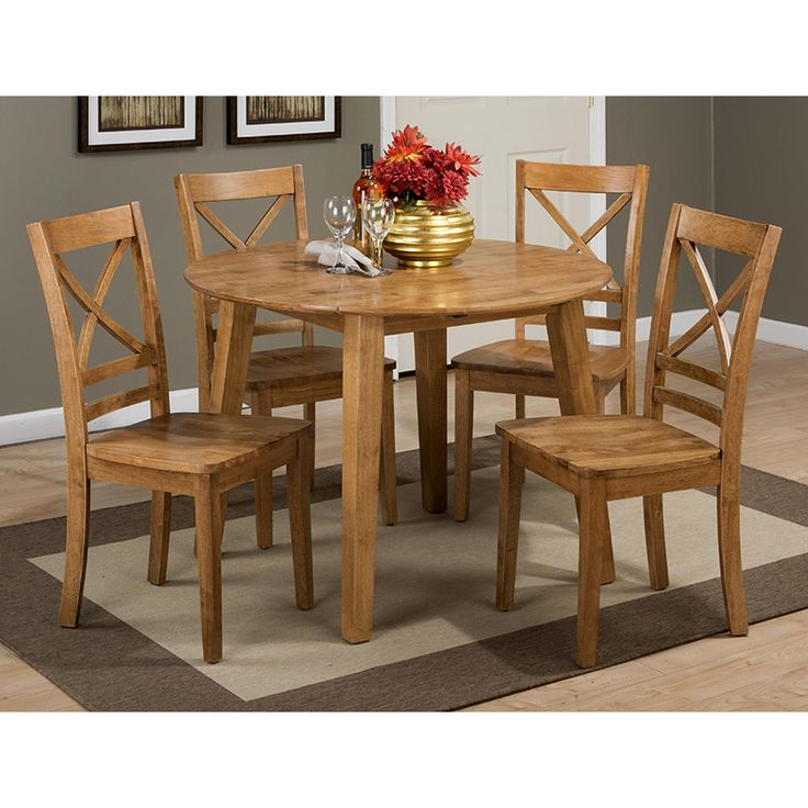 Simplicity Drop Leaf 42 Round Dining Table Set