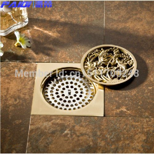 """New polished Golden Brass Fish Carved Bathroom Square 4"""" Floor Drain Waste Drain - ICON2 Luxury Designer Fixures  New #polished #Golden #Brass #Fish #Carved #Bathroom #Square #4"""" #Floor #Drain #Waste #Drain"""