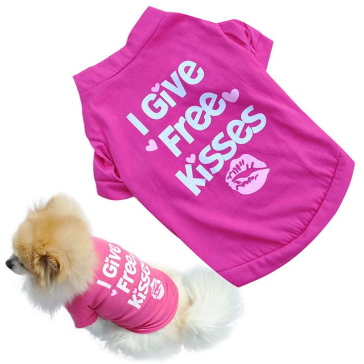 New 2016 summer spring pet dog vest cotton T-shirt puppy doggy shirt I Give Free Kisses print doggie cloth drop shipping