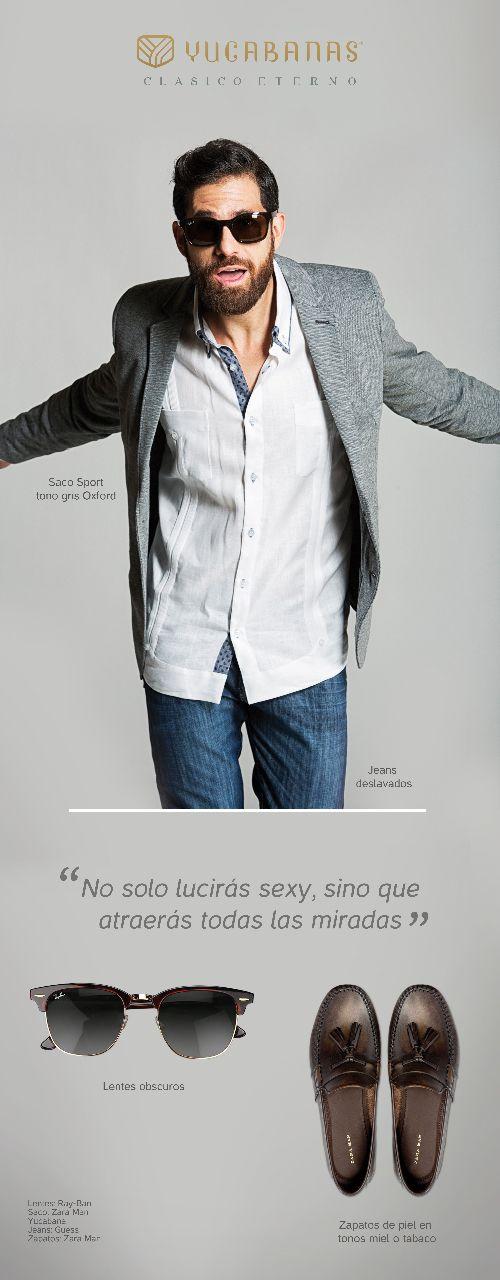 Yucabana para una comida con amigos.  Look casual que consta de: Jeans deslavados Saco gris tipo Oxford Lentes obscuros Ray-Ban Zapatos color miel o tabaco  No solo lucirás sexy, si no que atraerás todas las miradas. La razón es porque Yucabanas le da un twist a tu look y no te veras como todos los demás, a demás de lucir bien vestido, atraerás las miradas de más de una, lucirás divertido y con mucha personalidad.