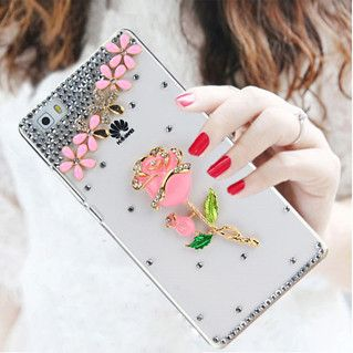 Bling bling Pink fox Rhinestone 9 style Transparent plastic Phone protection cover Case for Huawei P8 Lite Case Huawei P8 Lite