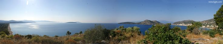 From the hill of #Ancient #Assini, a panorama starting from #Plaka beach (left) and reaching up to #Tolo beach (right). Both beachs are within a 10 minute drive from #Nafplio in the #Peloponnese - #Greece