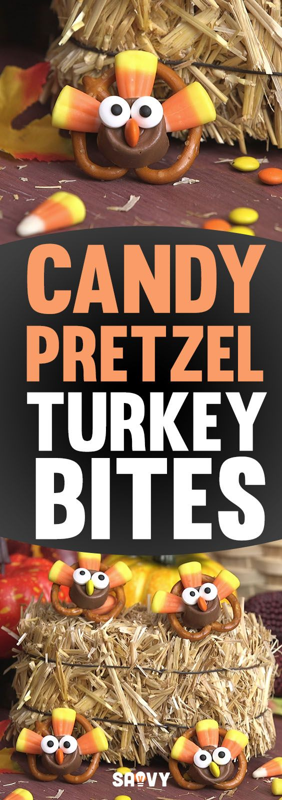 Can Thanksgiving dinner get any more delicious than it already is? Apparently it can! These Candy Pretzel Turkey Bites are a super delicious treat that your whole family will love. The salty and sweet combo is awesome, and since they're really easy to make you can have your kids give you a hand in putting them together.