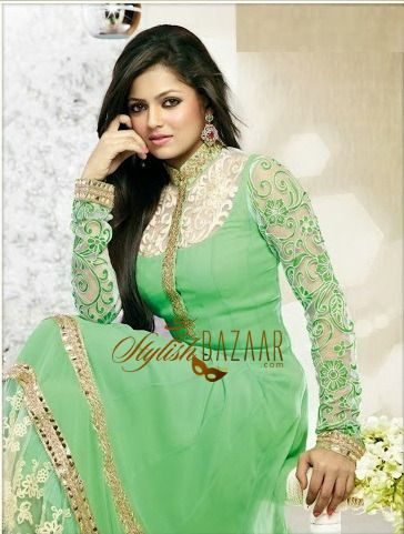 latest Indian designer Anarkali salwar kameez dupatta dress of 2014