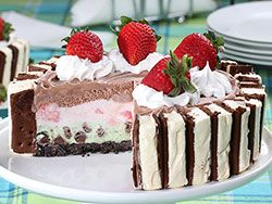 If you're an ice cream lover, then you're going to be all over this layered ice cream cake. This is The Best Ice Cream Cake Ever! Not only does it have three layers of ice cream, but it's surrounded by ice cream sandwiches! It really doesn't get much better than that.