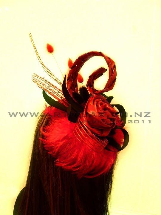 Flax flower fascinator by Artiflax Ltd  http://www.artiflax.co.nz