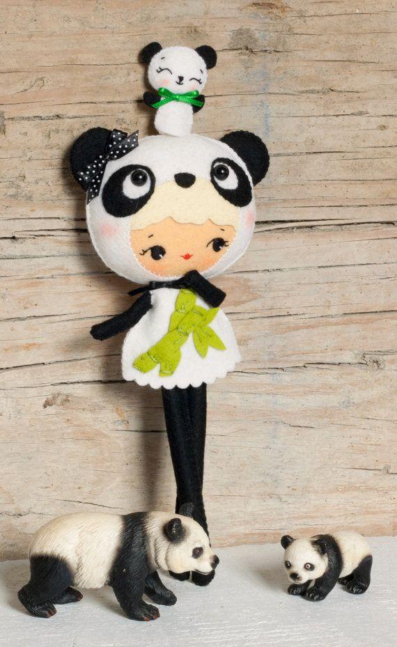 PDF. Panda bear girl with puppet. Plush Doll Pattern, Softie Pattern, Soft felt Toy Pattern.. via Etsy.