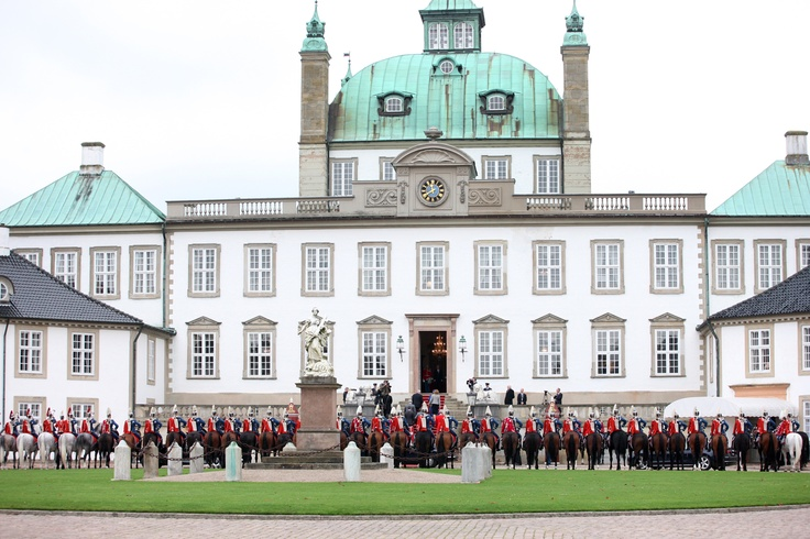 The mounted escort lined up in front of Fredensborg Palace. Oct 23 2013.